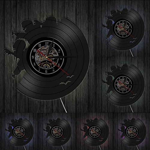 llvvv Reloj de Pared de Brote de Zombies, Reloj de Pared de Vinilo Vintage con diseño de Zombies, Monstruos Zombies, decoración de Pared aterradora de Terror de Halloween