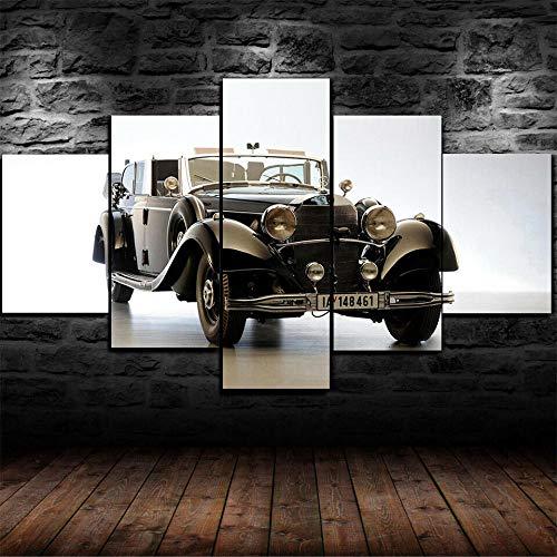 GMSM Mercedes 770K World War II Coche 5 Piezas Cuadros Lienzo Decoracion...