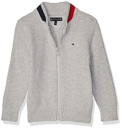 Tommy Hilfiger Full Zip Sweater Chaqueta y Abrigo para Bebé-Niños, Color Grey Heather, 2T