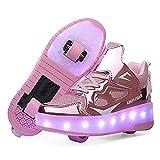 Churlin Zapatos con Ruedas Zapatillas con Dos Ruedas para niños y niña Led Luces Zapatillas con Ruedas Se Puede Bambas...