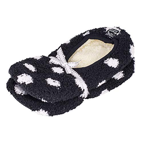 2 Pack - Super Soft Cozy Slippers with Slip-Resistant Bottom Sole, Black With White Polka Dots, Large Wide