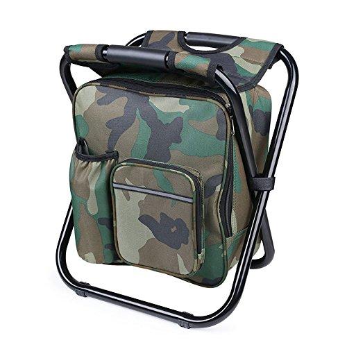 Sgabello pieghevole sedia zaino con raffreddamento isolati picnic borsa per pesca campeggio viaggio spiaggia BBQ, Camouflage