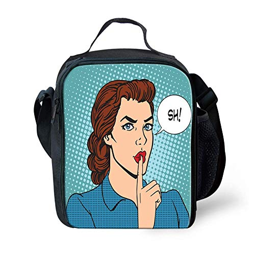 Lunch Bag Tote Boxes Bags Insulated LunchBags Top Secret Silence Businesswoman Concept Comic Pop Art Retro Style on Dotted Pattern,Lunch Box for Men/Women Boys/Girls Kids