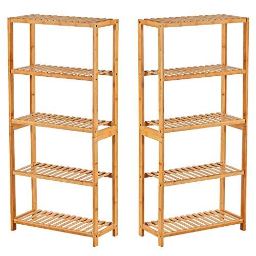 Regal bambus 2er set Badezimmerregal Badregal Bambus Standregal Bad Küchenregal Bücherregal mit 5 Ablagen DIY Mehrere Kombinationen