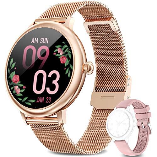 LIEBIG Smartwatch Mujer,Relojes Inteligentes IP67 con Ciclo Menstrual Femenino Pulsómetros Podómetro Cronómetros Monitor de Sueño Pulsera Actividad Inteligente para Android iOS(Dorado)