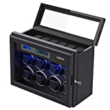 Watch Winder for Automatic Watches, Carbon Fibre Exterior Piano Finishing Wood with High-Gloss Lacquer, Upgraded Adjustable Watch Pillows Fit for Universal Lady and Men's Watch,Built-in Illumination