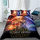 MULMF 3PCS Star Wars Duvet Cover Sets, 3D Printing Soft Queen Size Bedding Sets, Kids/Adult Movie Theme Quilt Comforter Sets Style 09 (90' 90')