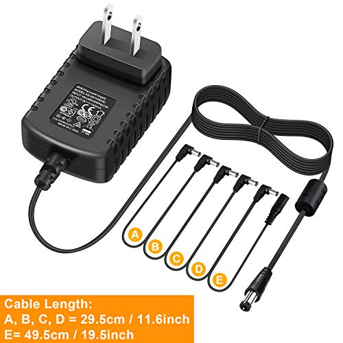 NEUMA Guitar Effects Pedal Power Supply Adapter 9V DC 1A (1000mA) with Cable 5 Way Daisy Chain Cord