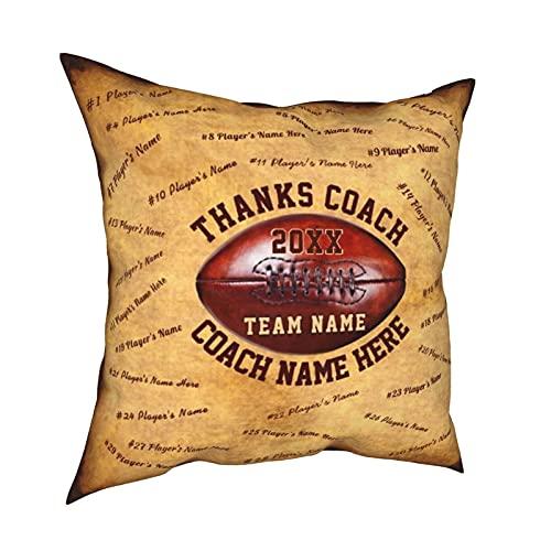 Reebos Fundas de almohada, hasta los nombres de los jugadores, regalos para entrenadores de fútbol, hogar, fundas de cojín cuadradas para sofá, sala de estar, cama de 45,7 x 45,7 cm