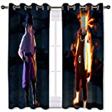 SSKJTC Curtains for Sliding Glass Door Naruto Manga Anime Pattern Printing Privacy Curtain Pair for Living Room W55 x L45 Inch