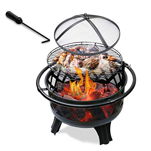 QuliMetal Outdoor Fire Pit with Cooking Grate,2-in-1 Wood Burning Firepits for Outside with Spark Screen Cover,Fire Poker and Log Grate, 30 inch