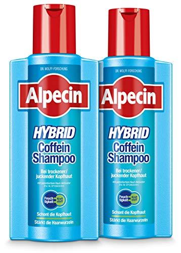 Alpecin XXL Hybrid-Coffein-Shampoo – Haarshampoo für Männer bei trockener, juckender Kopfhaut und Schuppen – gegen erblich bedingten Haarausfall - 2 x 375 ml