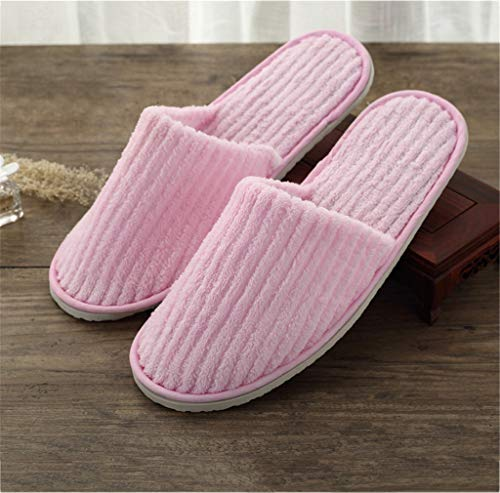 Hotel Guests Slippers,Moelleux Corail Polaire Fermer Orteil Spa Pantoufles, 5 Paires,Pink,1