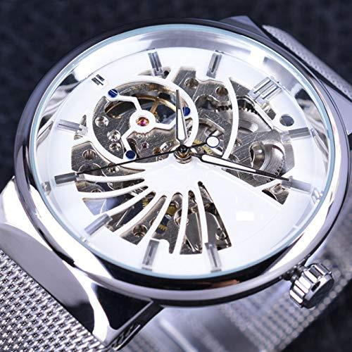 UNJ Neutral Silver Steel Men Short Small Dial Relojes para Hombre Reloj mecánico,Blanco