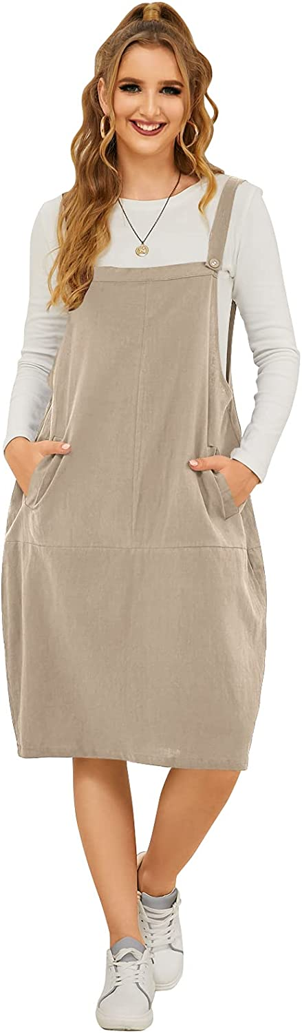 Same day shipping FLORHO Women Casual Spaghetti Strap Jumper Dress Rapid rise Overalls Loose
