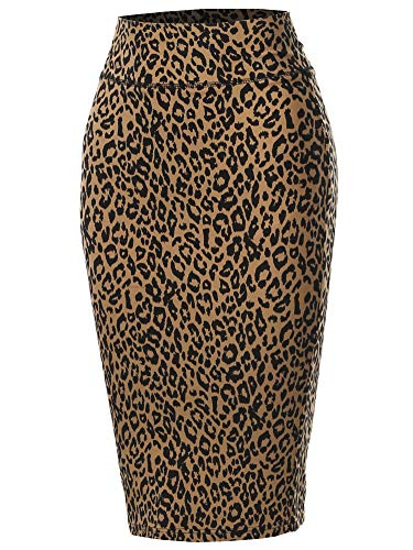 A2Y Solid Ponte Knee Length Slit Techno Span High Waist Pencil Skirt Leopard Khaki S
