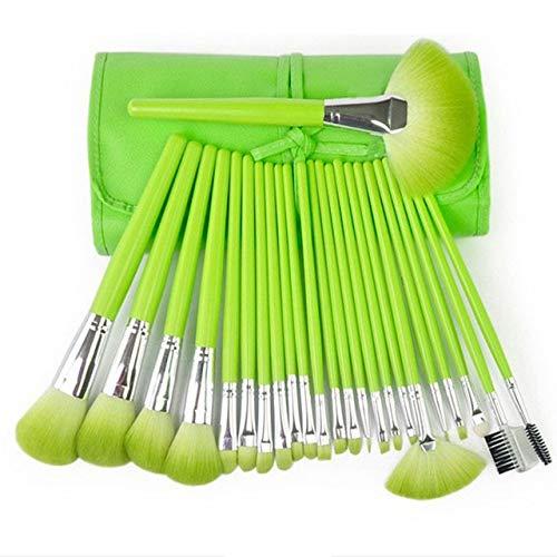 PoplarSun Professionnel Maquillage Pinceaux Cosmétiques Pinceau Vert Poudre Visage avec Un Sac en Cuir Pinceau de Maquillage (Handle Color : 24pcs Green)