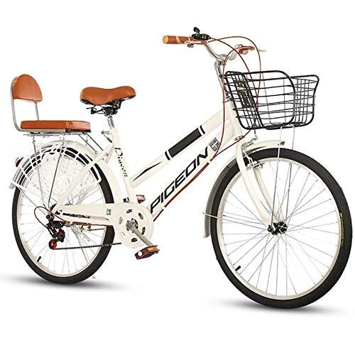 6 Velocidades City Commuter Bicicleta, Ocio Diseño Retro Bicicletas De Crucero Con Cesta Delantera Y Comodidad En El Asiento Trasero Bicicleta De Ciudad, Frenos Dobles Delanteros Y Traseros,24 inch