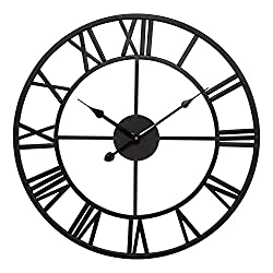 Infinity Time Metal Round Shaped Oversized Antique Industrial Iron Skeleton Roman Numerals Home Decor Wall Clock-24inch,Classical Matt Black