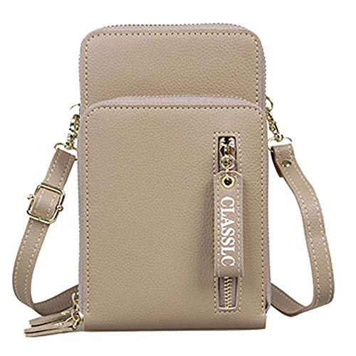 Coopay - Bolso bandolera para mujer, bolso de hombro, funda para teléfono móvil, universal práctica, con muchos compartimentos para tarjetas, monedero, color caqui