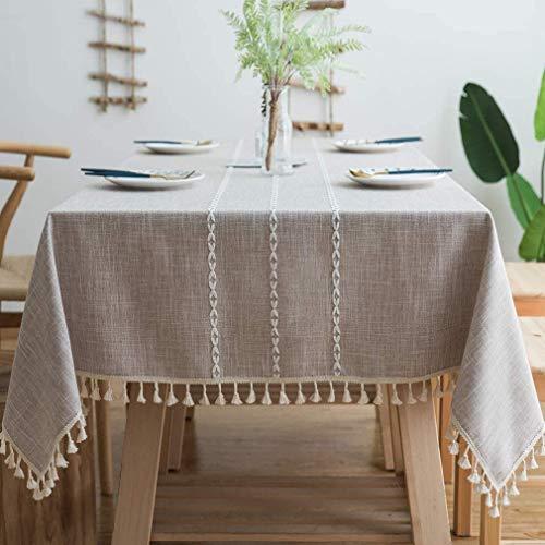 KKGASSAB Mantel de Lino de algodón Decoración de Borla Bordada a Prueba de Polvo Tabla de Cocina Lavable para Mesa de Comedor (Color : Grid Red, Size : 4 Seats)