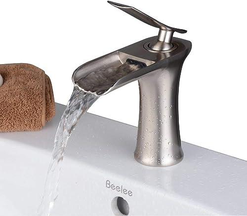 Beelee Mitigeur pour Lavabo Robinet à monocommande avec Bec cascade pour cuisine et salle de bain en Laiton