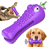 Squeaky Dog Toys for Aggressive Chewers, Indestructible Dog Toothbrush Chew Toy for Large Breed Dogs, Interactive Tough Durable Natural Rubber Dog Toys
