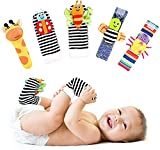 FPVERA Soft Baby Wrist Rattle Foot Finder Socks Set Toys Infant Toy Newborn Toys Learning Einstein Hand Foot Baby Rattles Socks Gift Cotton and Plush Stuffed for Newborn Boy Girl Kids Toddler