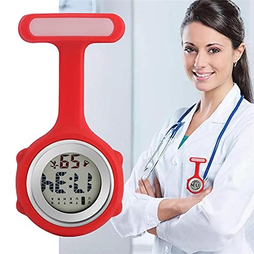 Colgante Enfermera Prendedor Reloj,Reloj de Enfermera con número LED, Reloj de Bolsillo con Broche, Regalo para enfermero médico-Rojo,Reloj de Enfermera
