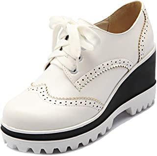 Bonrise Women's Round Toe Wedge Platform Oxford Shoes Lace Up Wingtip Chunky High Heel Vintage Dress Shoes