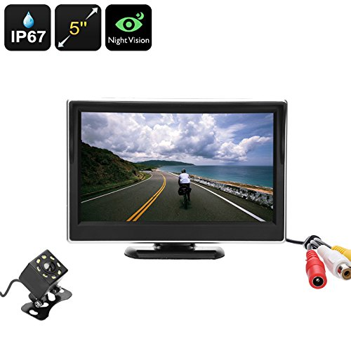 sauvegarde de recul Caméra de recul kit – BW 12,7 cm écran HD 800 x 480, 1/10,2 cm Couleur CMOS, IP67, caméra, Nigh Vision, objectif de 120 degrés