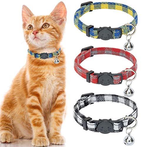Pupteck Katzenhalsband mit Glöckchen – 3er-Pack kariertes Abreißhalsband für Katzen, verstellbares Sicherheits-Halsband, Orange / Rot / Grün, gelb