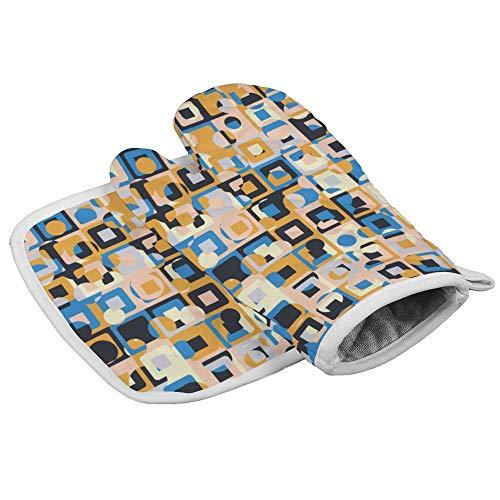 Yutess Gemaakt van Concentrische Vierkanten met Chaotische Kleurplaten Hittebestendige geïsoleerde oven wanten pannenlappen Keuken Oven Handschoenen voor het bakken BBQ Grilling op maat