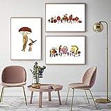 SNGTOW Seta Abstracta Característica Pintura en Lienzo Fruta Familia Stawberry Carteles de Pared Impresión artística Imagen de decoración de Sala de Estar nórdica | 40x60cmx3 Sin Marco