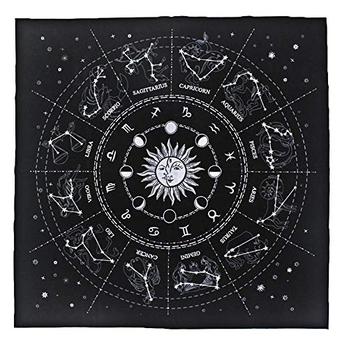 atteryhui Altar-Tarot-Kartentischdecke, 12 Sternbild-Astrologie-Tarot-Weissagungs-Kartentischdecke Schwarzes Quadrat-Wicca-Hexagramm-Tapisserie