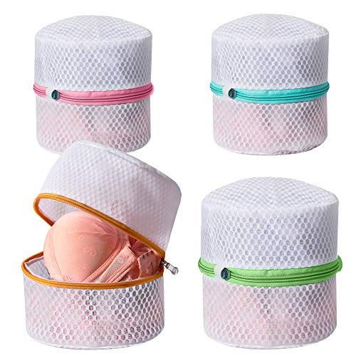 BAGAIL Lingerie Bags for Laundry - Set of 4 Honeycomb Mesh Bra Wash Bag with Premium Zipper Travel Laundry Bag for Intimates Lingerie and Delicates(Bra Wash Bag 4 Set)