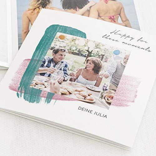 sendmoments Geburtstagsfotobuch Mini-Format Farbstreifen, kompakt auf 16 Seiten, im quadratischen Format, personalisiert mit Wunschbildern & -Text, Bilder-Büchlein als Erinnerung oder zum Verschenken