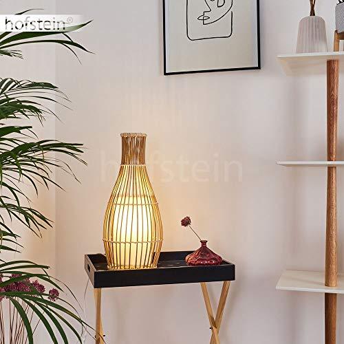 Tischlampe Sarandra, Vintage Tischleuchte aus Bambus/Stoff in Natur/Weiß, Ø 18 cm, E27-Fassung, max. 40 Watt, Leuchte im Boho-Style mit An-/Ausschalter am Kabel, LED geeignet