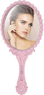 Tinland Hand Mirror with Handle Vintage Personal Vanity Makeup Handheld Mirror Compact Travel 9.8x4.5in(Pink)