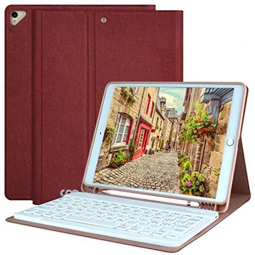 """AMZCASE Custodia con Tastiera per iPad 10.2"""" 9a/8a/7a Gen(2021/2020/2019),iPad Air 3 10.5"""", iPad PRO 10.5"""" Tastiera Bluetooth Rimovibile Senza Fili - Portapenne (Vino Rosso)"""