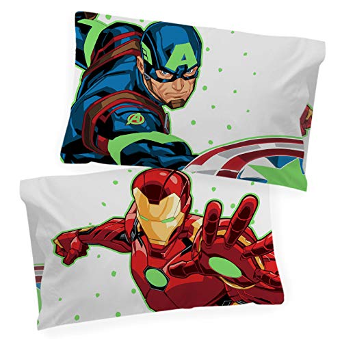 Jay Franco Marvel Avengers Space Bound Glow in The Dark 2 Pack Reversible Pillowcases Features Captain America & Iron Man - Double-Sided Kids Super Soft Bedding (Official Marvel Product)