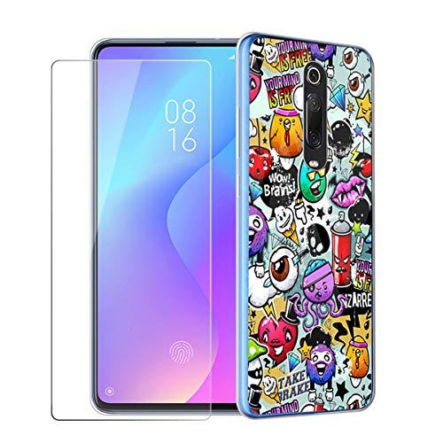 "HYMY Cover for Xiaomi Mi 9T / Redmi K20 + Protective Film - Soft Transparent Silicone Bumper Case TPU Protective Cover Case + tempered glass for Xiaomi Mi 9T / Redmi K20 (6.39 "") -XS40"
