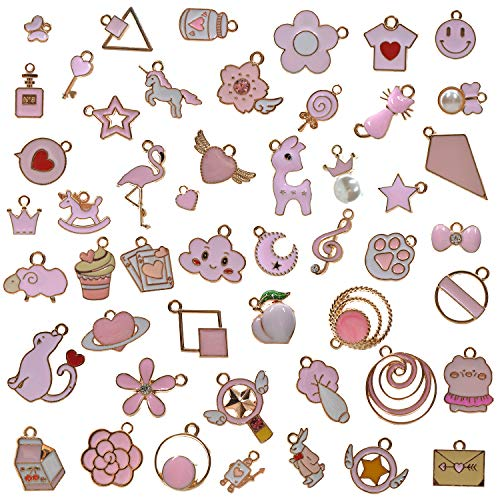 YUEAON 50pcs Enamel charms for Jewelry Making supplies earring bracelet pendant bangle necklace designer keychain bulk lots wholesale (Pink)