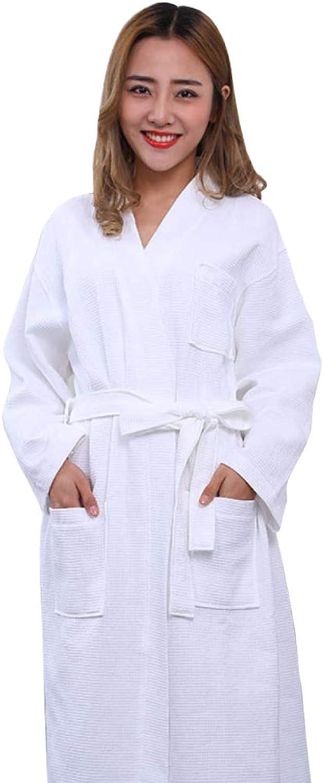 Hotel Bathrobe Men's And Women's White Bathrobes And Kimono Collar Home Service,WhiteL