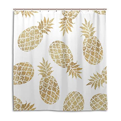 CPYang Duschvorhänge, abstraktes Obst-Ananas-Muster, wasserfest, schimmelresistent, Badevorhang, Badezimmer, Heimdekoration, 168 x 182 cm, mit 12 Haken