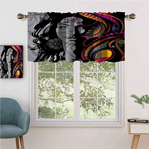 Hiiiman Fashion Design Cenefa térmica aislada para ventanas de mujer Retrato Glamour Art, juego de 1, 91,4 x 45,7 cm para habitación de niños