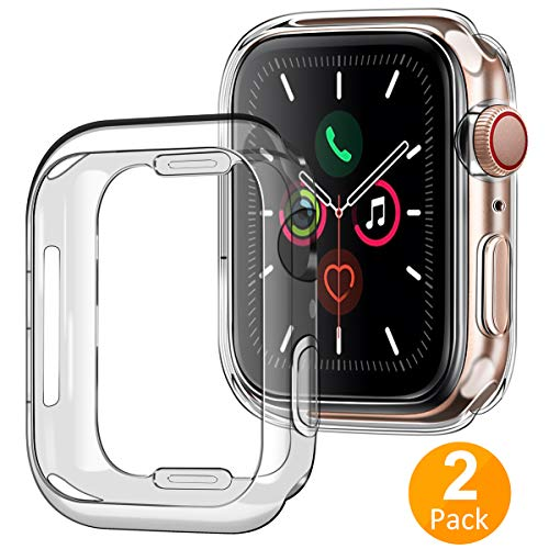 Tensea Case for Apple Watch 40mm Series 4 5, (2 Packs) Soft TPU Shock Absorption Bumper Clear Protective Cover Compatible for iWatch Series 5 4, (Clear)