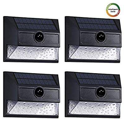Westinghouse Intelligent Security Lights Solar Outdoor 30 LEDs Wireless Motion Sensor Light 800 Lumens Teardrop Seeded Lens Wall Light for Garden, Patio, Yard, Driveway, Garage, Porch (4pk)
