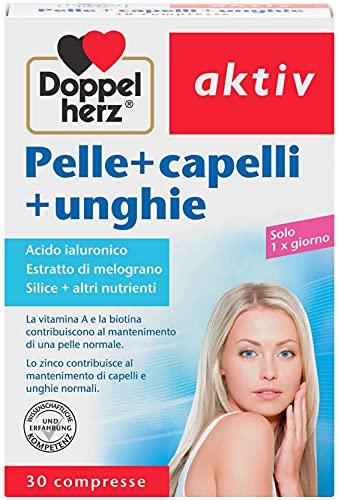 Pelle Capelli Unghie - Vitamina A e la Biotina sostengono il mantenimento dei Capelli - Lo Zinco contribuisce al mantenimento delle Unghie - 30 compresse