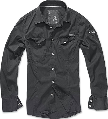 Brandit Men Slim Shirt Herren Hemd Schwarz XL
